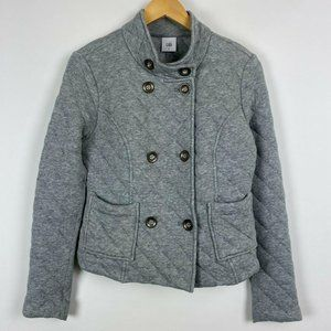 Cabi Small Gray Quilted Jacket Coat Metal Buttons